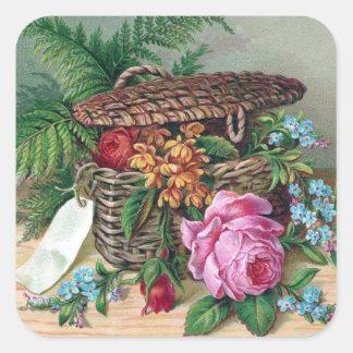 Rosas y helechos en Victorian del vintage de la Calcomanía Cuadradas Personalizada
