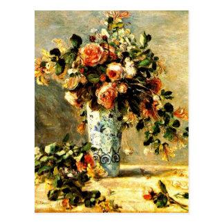 Rosas y jazmín en un florero de Delft, pintura de Postales