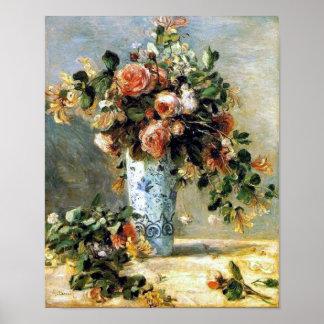 Rosas y jazmín en un florero de Delft por la impre Impresiones