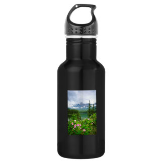 Rosas y lago salvajes de la montaña en jaspe botella de agua de acero inoxidable