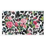 Rosas y leopardo de moda femeninos hermosos del tarjeta de visita