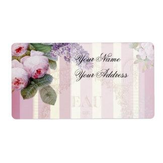 Rosas y lila del vintage etiqueta de envío