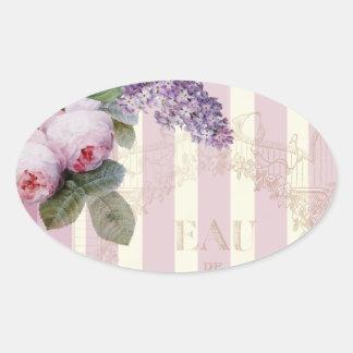 Rosas y lila del vintage pegatina oval personalizadas
