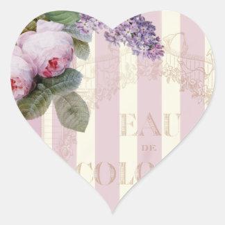 Rosas y lila del vintage pegatina en forma de corazón