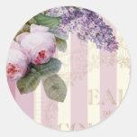 Rosas y lila del vintage pegatina redonda