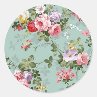 Rosas y lilas de la col del vintage pegatina redonda