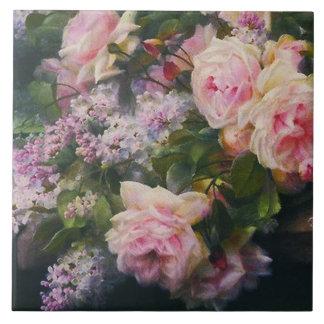 Rosas y lilas del Victorian Azulejo Cuadrado Grande