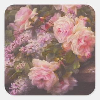 Rosas y lilas del Victorian Pegatina Cuadrada