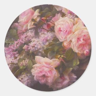 Rosas y lilas del Victorian Pegatina Redonda