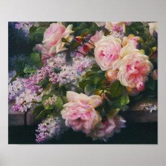 Rosas y lilas del Victorian Póster