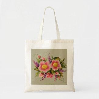 Rosas y lilas salvajes bolsa lienzo