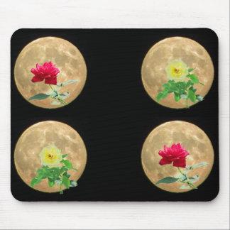 Rosas y lunas alfombrillas de ratones