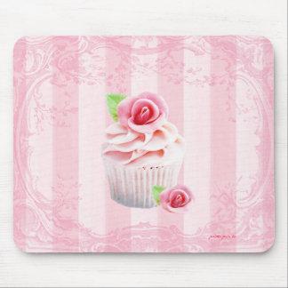 Rosas y magdalenas Mousepad que hiela rosado