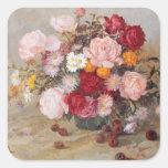 Rosas y margaritas pegatina cuadrada