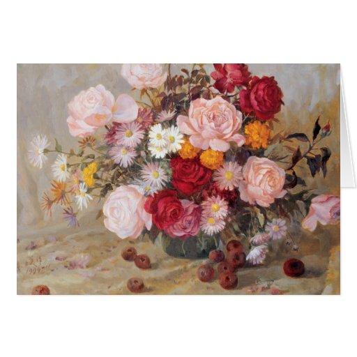 Rosas y margaritas tarjeta de felicitación