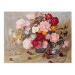 Rosas y margaritas tarjeta postal
