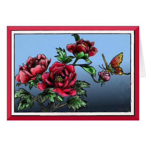 Rosas y mariposa tarjeta de felicitación