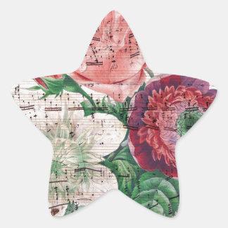 Rosas y Music.jpg Calcomania Forma De Estrella Personalizadas