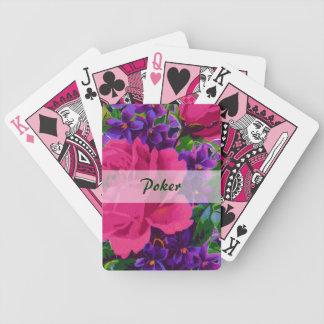 Rosas y naipes del póker de las violetas baraja