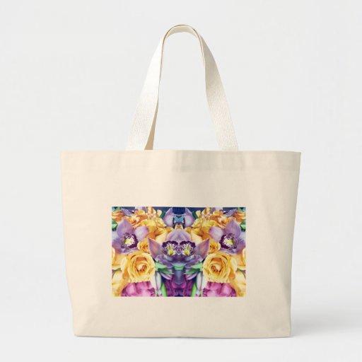 Rosas y Orchids_ Bolsa Tela Grande