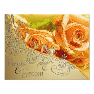 """Rosas y oro del melocotón - el casarse echado a un invitación 4.25"""" x 5.5"""""""
