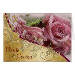 Rosas y oro rosados - invitación de boda de la nov felicitacion