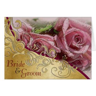Rosas y oro rosados - invitación de boda de la tarjeta de felicitación
