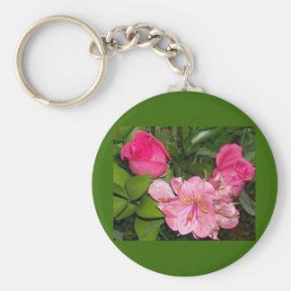 Rosas y orquídeas llavero redondo tipo pin