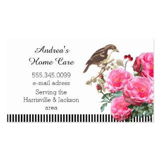 Rosas y pájaro rosados de los cuidados en casa tarjetas de visita