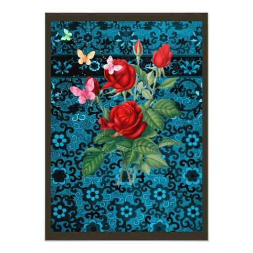 Rosas y papel pintado invitación 12,7 x 17,8 cm
