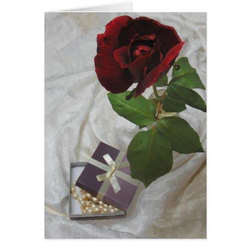 rosas y perlas tarjeta de felicitación