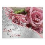 Rosas y plata rosados - el casarse echado a un invitación 10,8 x 13,9 cm