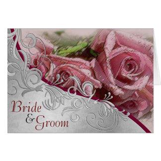 Rosas y plata rosados - invitación de boda de la tarjeta de felicitación