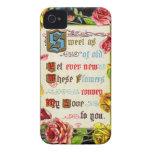Rosas y poema de la tarjeta del día de San iPhone 4 Cárcasa