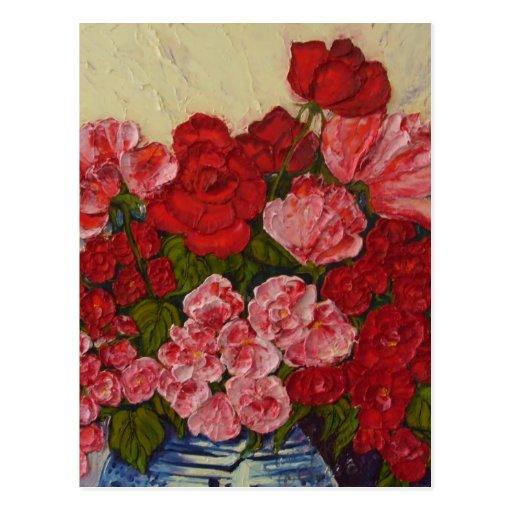 Rosas y postal de los Peonies