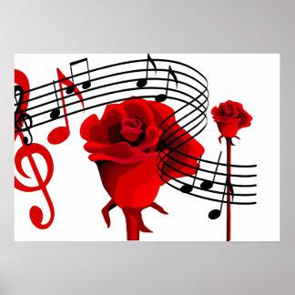 Rosas y poster de la música del amor