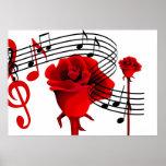 Rosas y poster de la música del amor póster