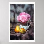 Rosas y poster de la pared de las peras