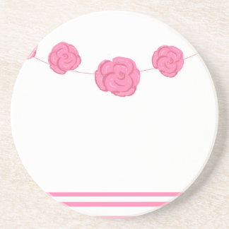 Rosas y rayas rosados posavasos personalizados