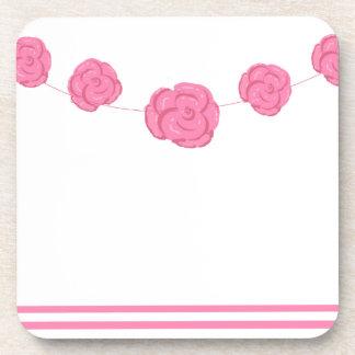 Rosas y rayas rosados posavasos de bebida