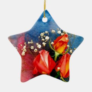 Rosas y respiración del bebé adorno navideño de cerámica en forma de estrella