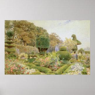 Rosas y rosas por Elgood, jardín del inglés del Póster