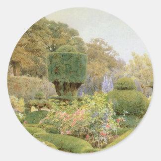 Rosas y rosas por Elgood, jardín del inglés del Pegatina Redonda