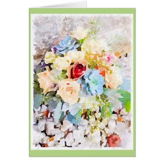 Rosas y Succulents del melocotón Tarjeta De Felicitación