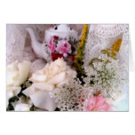 Rosas y tetera felicitación