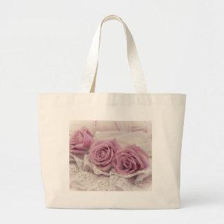 Rosas y todavía del cordón bolso de la vida bolsa tela grande