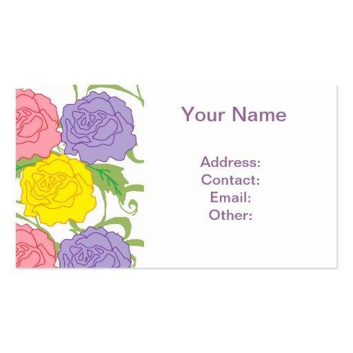 Rosas y vides coloridos tarjetas de negocios