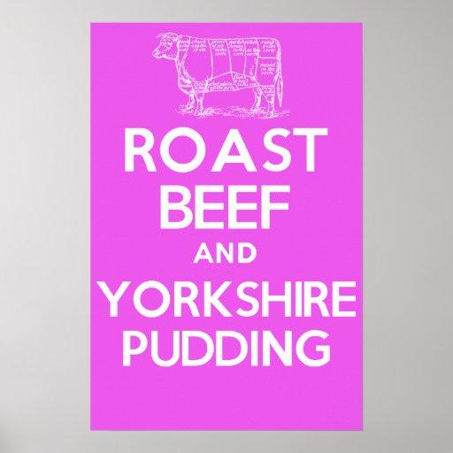Rosbif y pudín de Yorkshire (rosa) Posters