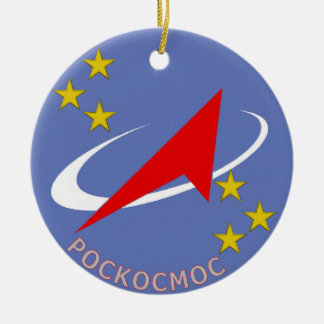 Roscosmos Flight Logo Round Double-Sided Ceramic Round Christmas Ornament