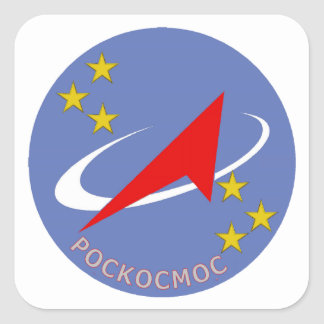 Roscosmos Flight Logo Round Square Sticker